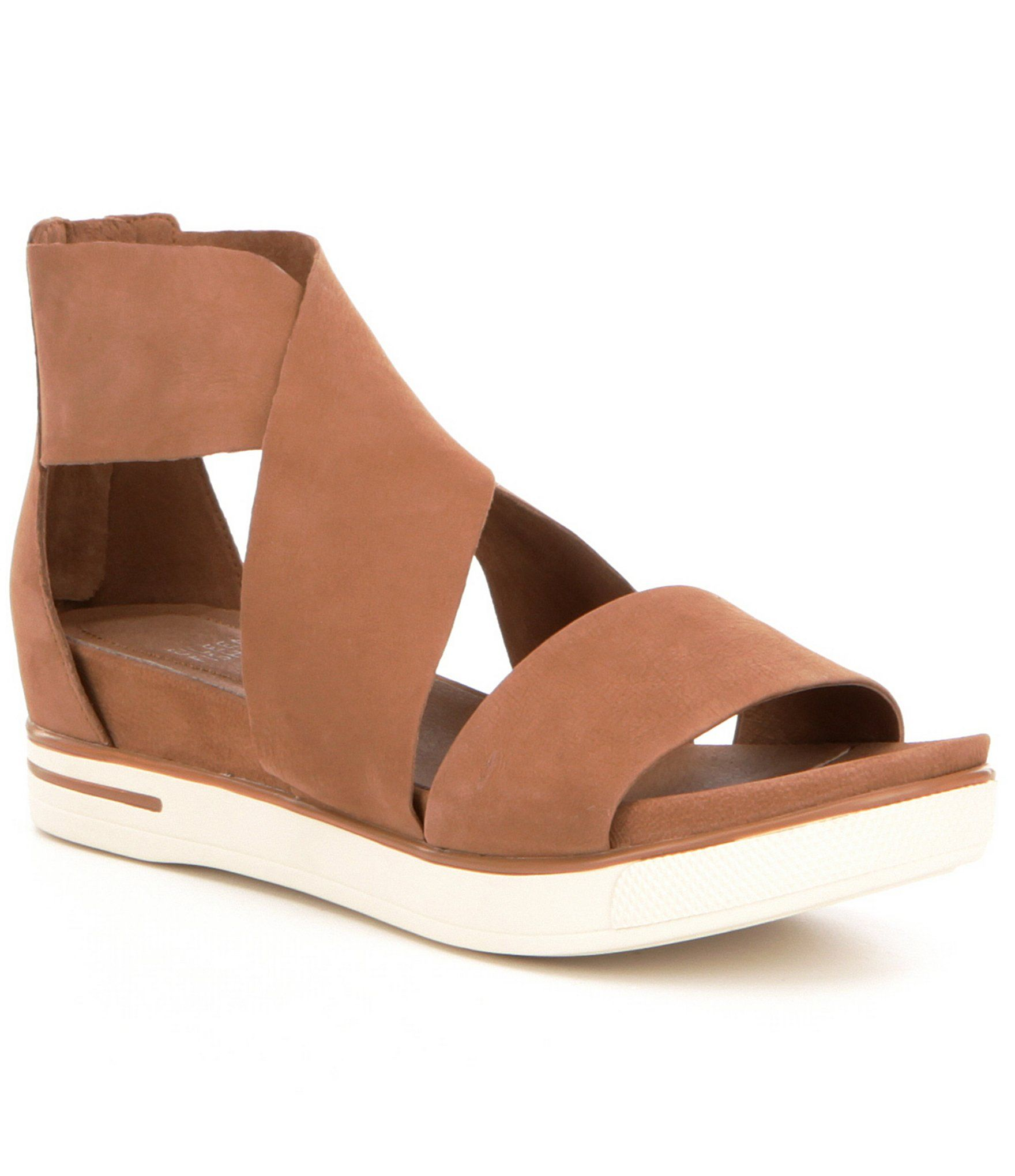 5cc9b7aa3084 Eileen Fisher Tumbled Leather Criss Cross Banded Backstrap Sport Sandals   Dillards