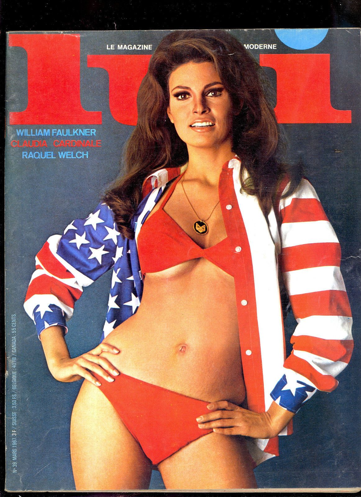 Raquel welch on the cover of lui 1967