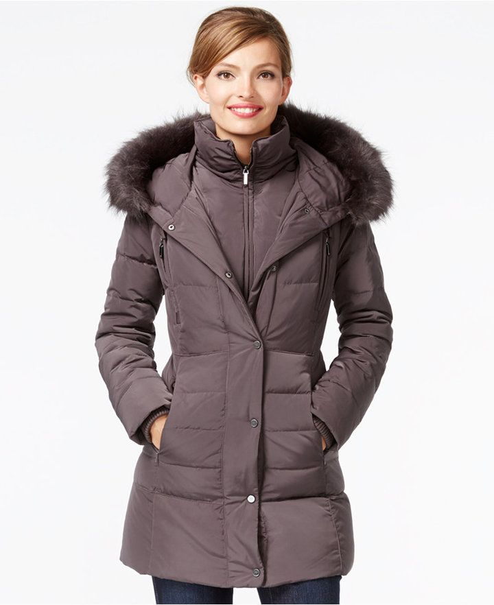 492de7494 Jones New York Faux-Fur-Trim Down Coat | My Style | Down coat, Coat ...