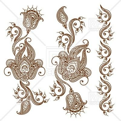 Mehndi Style Ornamental Flower For Tattoo Indian Ethnic Tracery