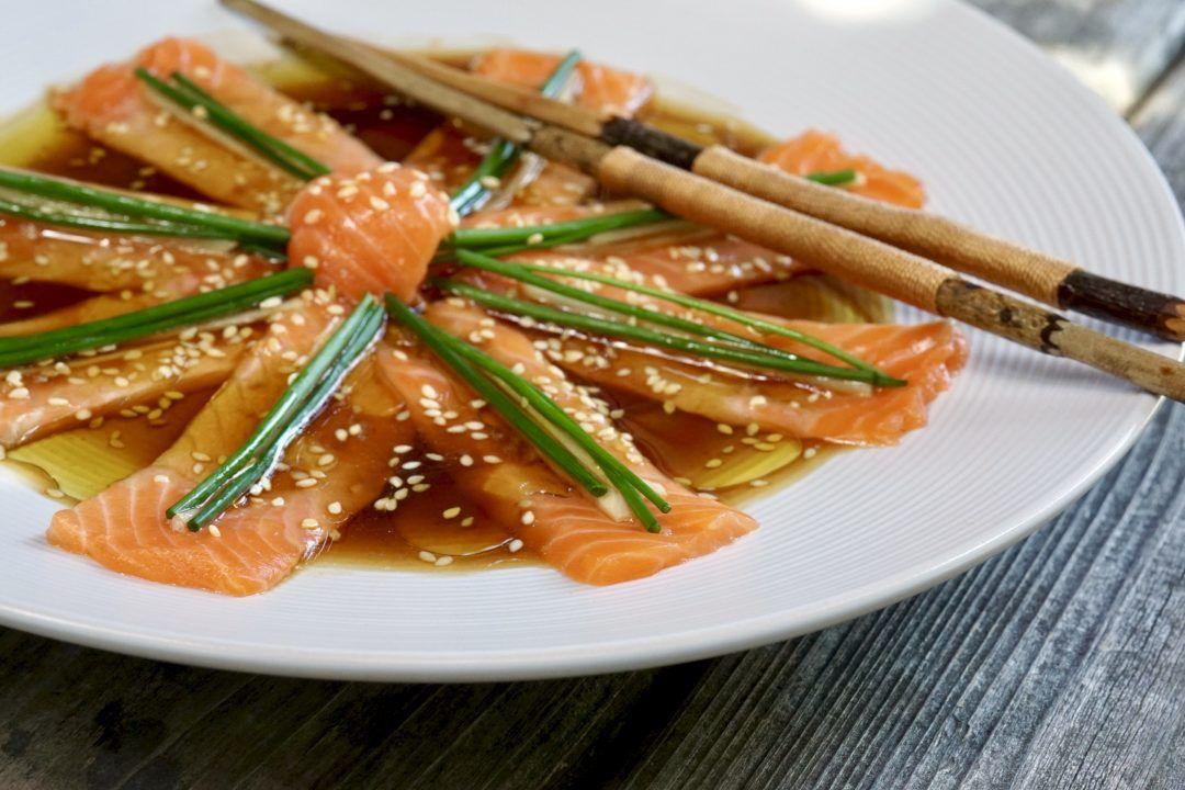 Nobu Matsuhisa S New Style Salmon Sashimi Recipe Recipe Salmon Sashimi Sashimi Recipe Recipes