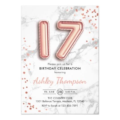 17th Birthday - Rose Gold Balloons Marble Effect Invitation | Zazzle.com