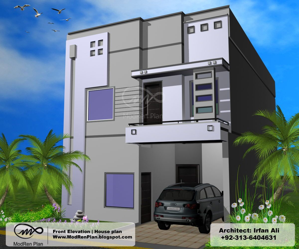 House design indian style plan and elevation - Marla Front Elevation House Plans Modern Design Indian Home Modrenplan