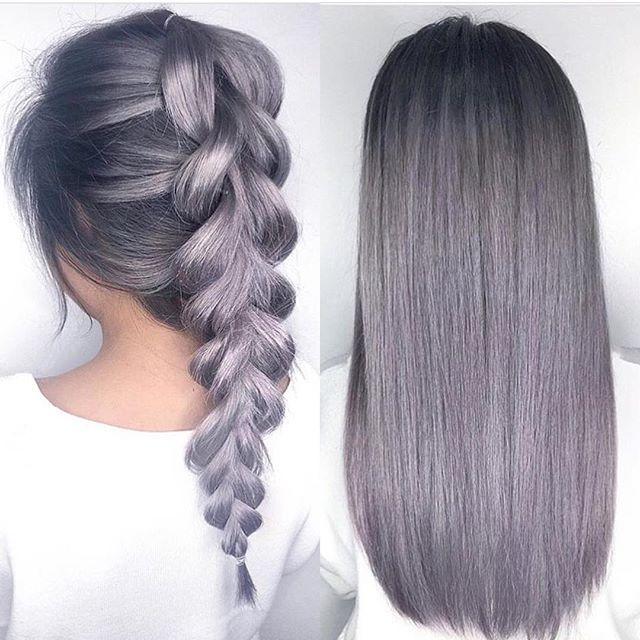 metallic lilac gray hair color