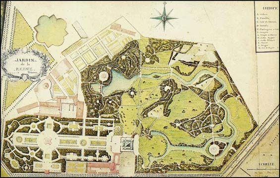 plan des jardins du petit trianon gauche jardin fran ais droite jardin anglais louis xvi. Black Bedroom Furniture Sets. Home Design Ideas