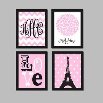 Paris Wall Art Canvas Or Prints Eiffel Tower Pink Black Baby Nursery