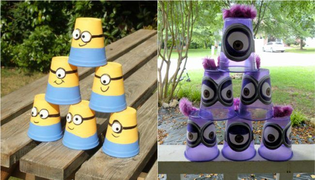 kindergeburtstag spiele drau en minions becher turm. Black Bedroom Furniture Sets. Home Design Ideas