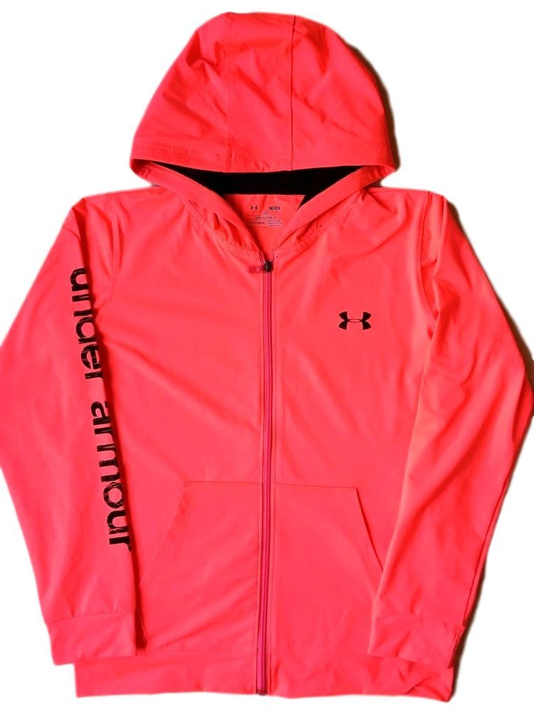 Useful Under Armour Womens Pink Full Zip Hoodie Size Medium Activewear