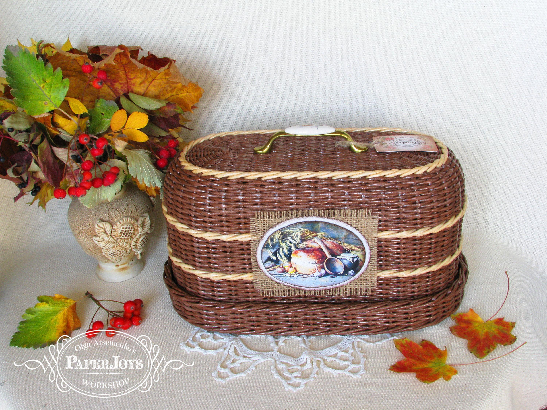 Country bread box kitchen storage bin wicker bread