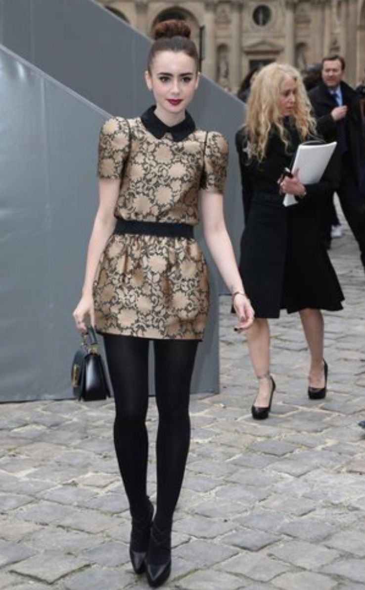 8a0d06d8b56d Lily Collins sexy dress with sheer black tights and heels | Lily ...