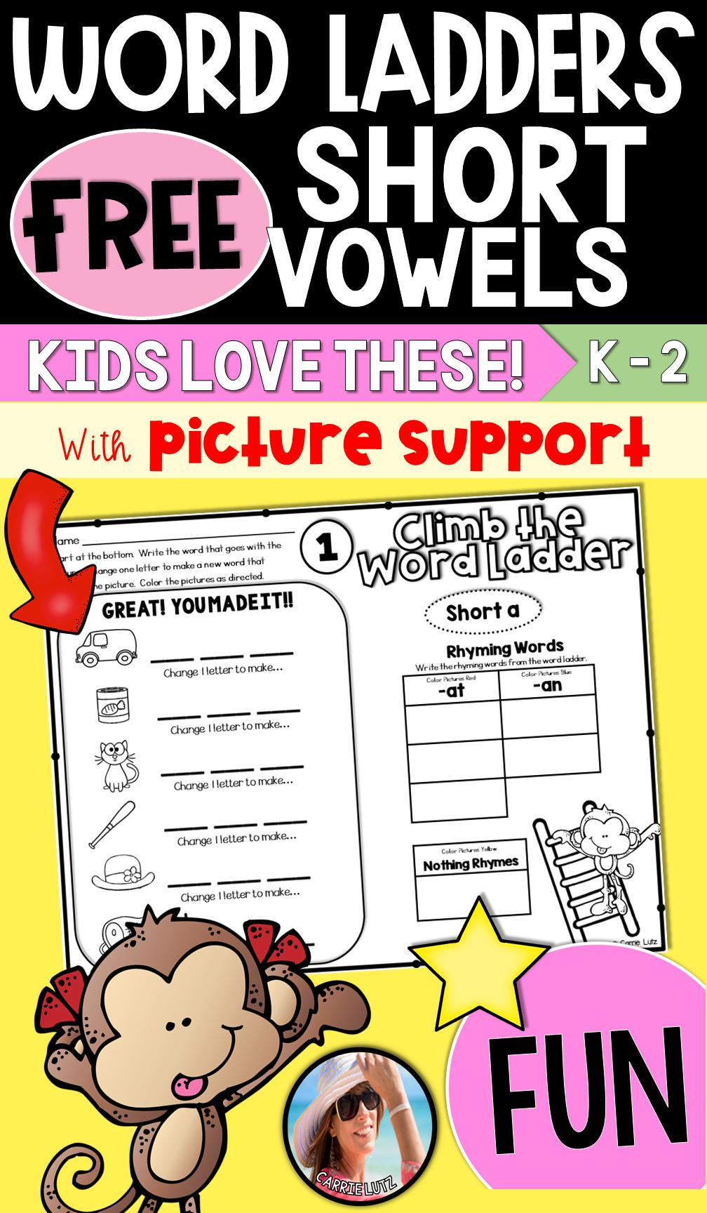 Word Ladders - Short Vowels - Freebie | TpT FREE LESSONS | Pinterest
