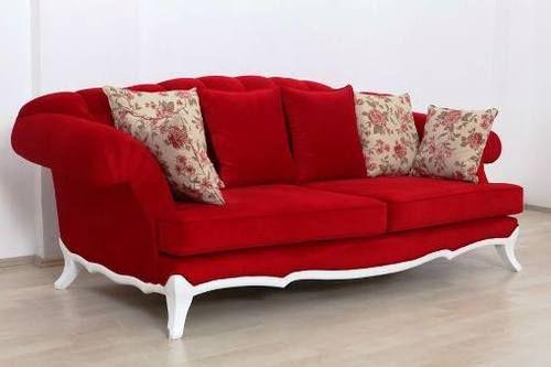 sofa tamu mewah dengan bentuk unik kain merah kombinasi frame putih model desain