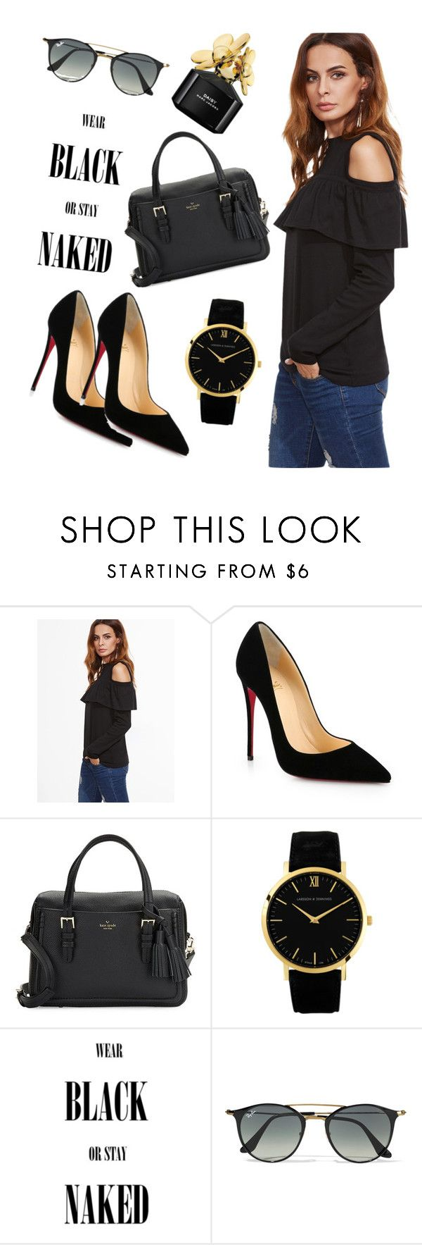 """""""black."""" by something-youlike ❤ liked on Polyvore featuring Christian Louboutin, Kate Spade, Ray-Ban and Marc Jacobs"""