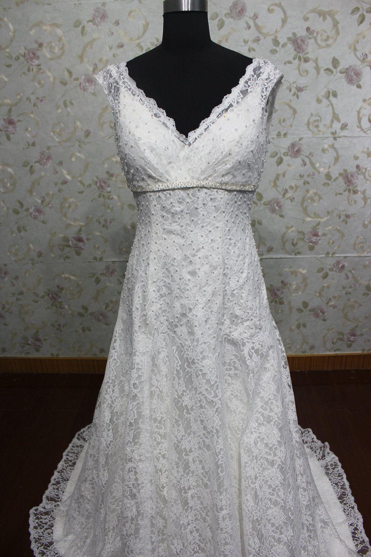 Beaded a line empire waist lace wedding dress v neck elegant style