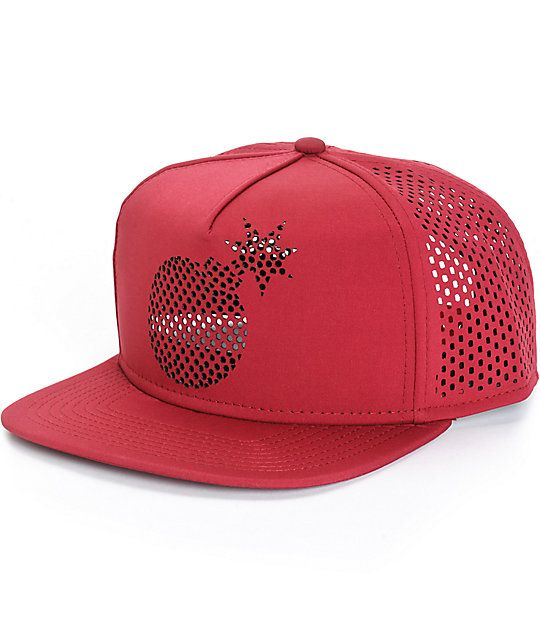 77d7cb17136 Add a unique new style to your hat game with perforated mesh style back  panels on a burgundy colorway and a perforated die-cut Adam Bomb logo at  the front.
