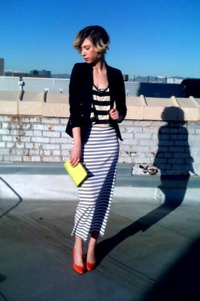 16cf580c0 gray and white striped maxi Target dress black boys thrifted blazer  chartreuse vintage clutch thrifted bag Urban Outfitters Top Reviews tan and  black ...