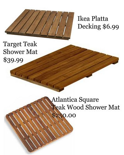 Wooden bath mats make an inexpensive easy solution for for Wood floor mat