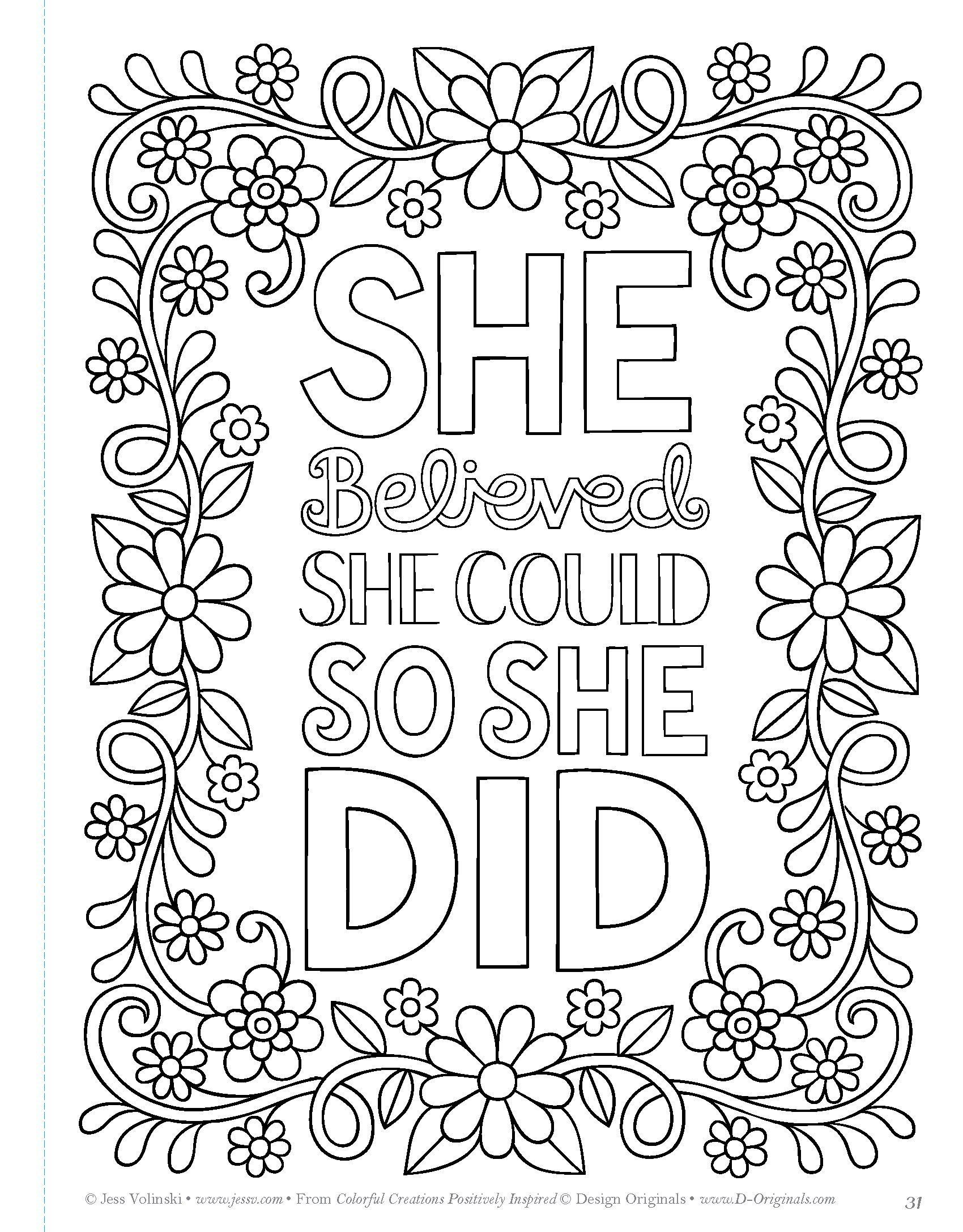 Colorful Creations Positively Inspired Coloring Quote Coloring Pages Coloring Pages Inspirational Free Coloring Pages
