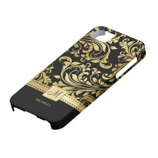 Elegant Black & Gold Damask with Monogram iPhone 5 Case