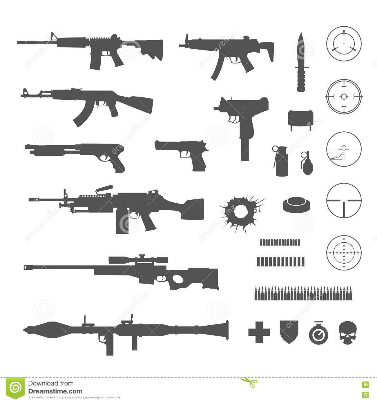 Guns And Game Elements Icons Guns Tattoo Flash Art Icon