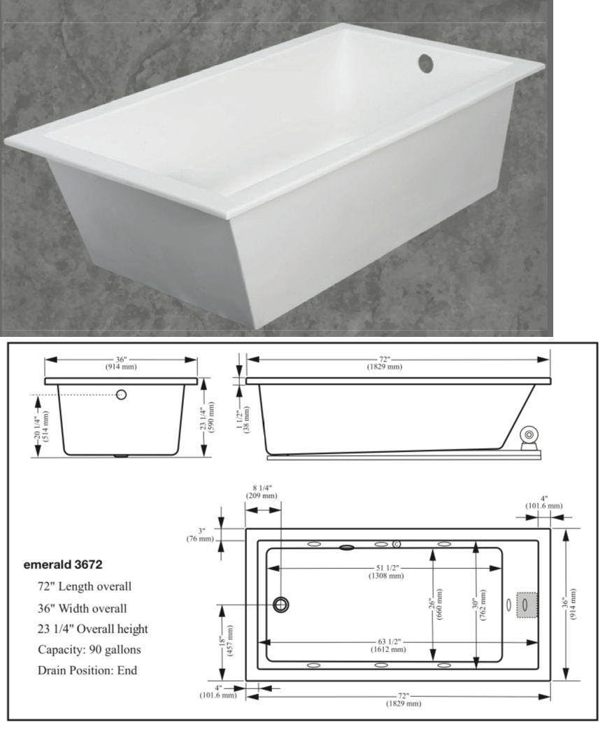 Prime Bathtubs 42025 New Gemline White Emerald Soaker Tub 72 Long Machost Co Dining Chair Design Ideas Machostcouk