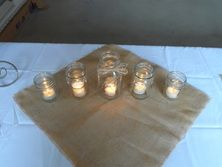 Burlap Square and mason jar centerpiece