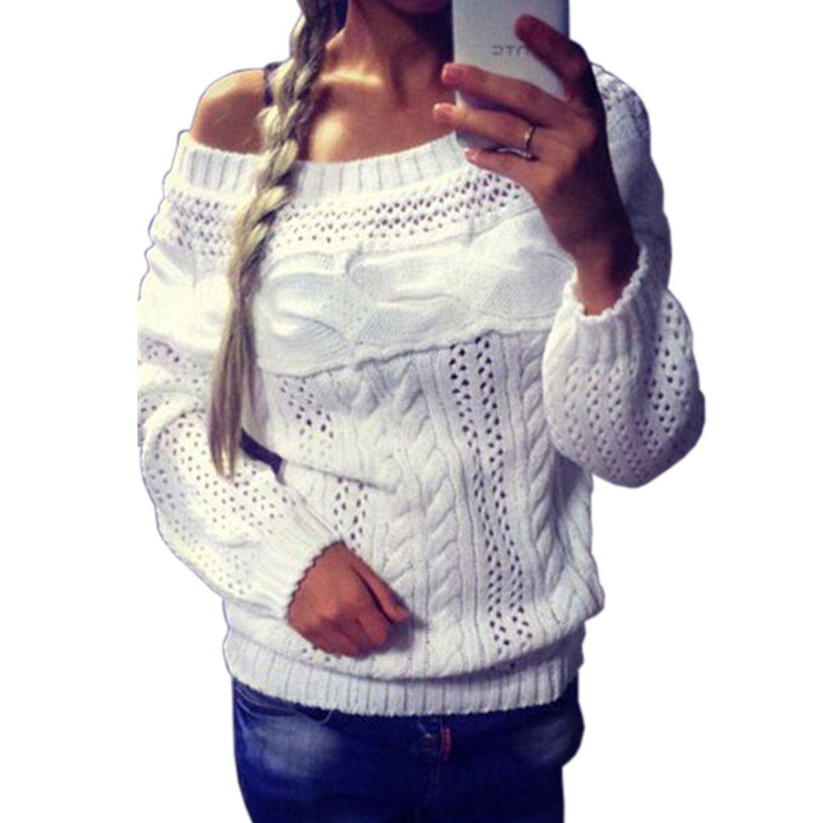 2017 여성 스웨터 섹시한 오프 숄더 니트 스웨터 중공 아웃 풀오버 줄무늬 긴 소매 니트 점퍼 흰색 풀 팜므