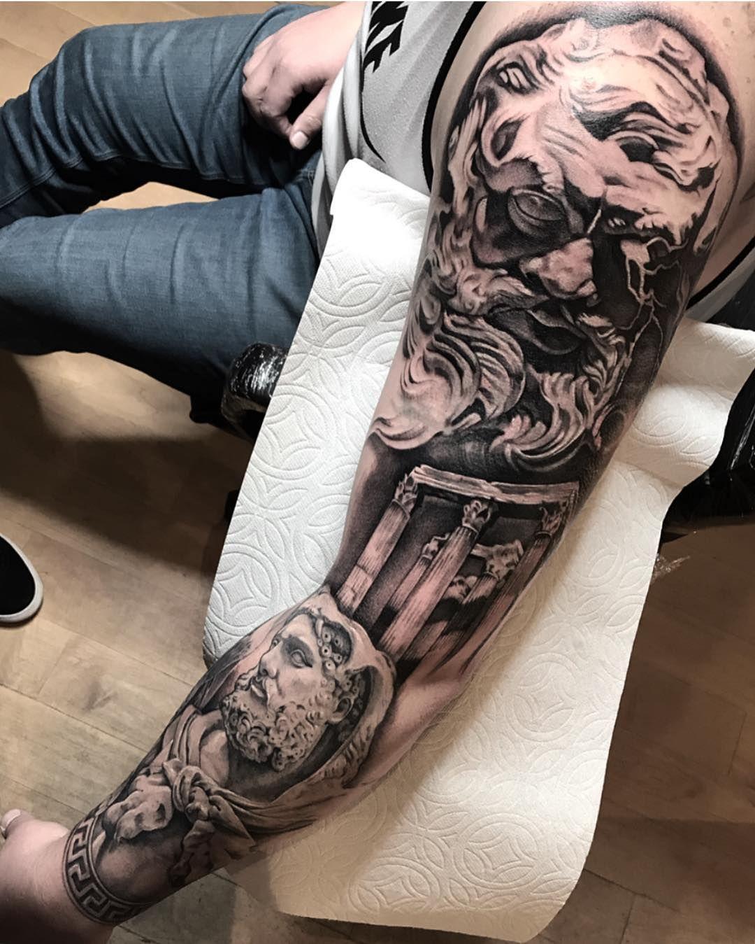 Greek Mythology Sleeve Tattoo Zeus Hercules Atlas Greek Tattoos Hercules Tattoo Greek Mythology Tattoos