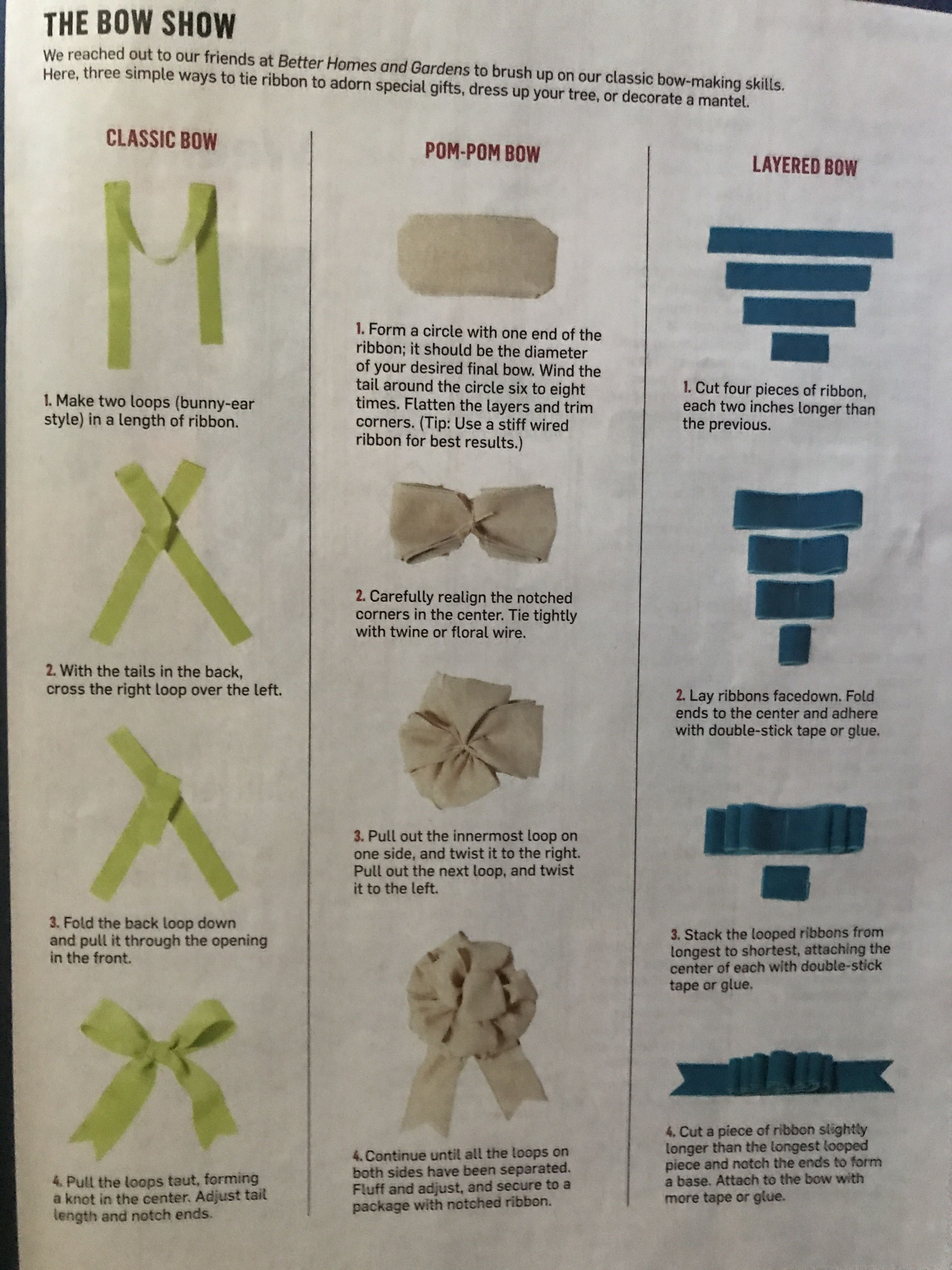 DIY How To Make: classic bow, Pom Pom bow and layered bow | Wrapping ...