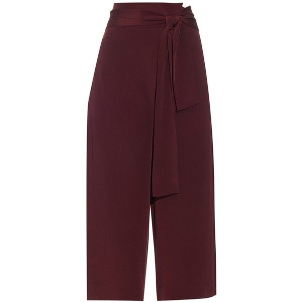 Tibi Tie-front silk culottes (€530) ❤ liked on Polyvore featuring pants, capris, tibi, burgundy, evening pants, silk sash belt, silk evening trousers, holiday pants and purple pants