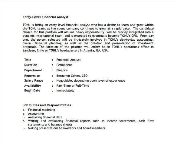 Financial Analyst Job Description Ministry Of Commerce And Textile
