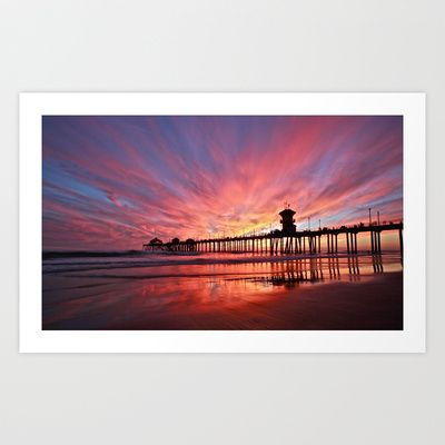 Sunset ~ Huntington Beach Pier CA   Art Print by John Minar - $19.99