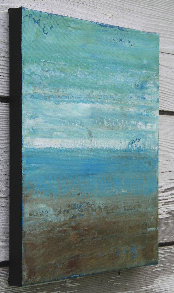 Abstract Beach Painting - Beach (10x12) Original Acrylic Painting ...