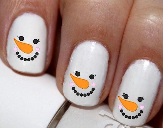 20 pc Snow Man Snowmen Face Winter Season Nail Art Nail Decals #cg1776na