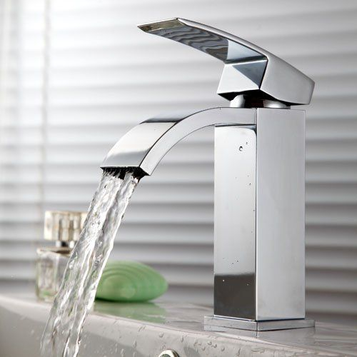 Kes L3109a Single Handle Waterfall Bathroom Vanity Sink Faucet With Extra Large Rectangular Spout Chrome