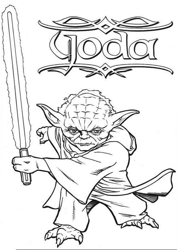 Kleurplaten Star Wars Yoda.Master Yoda Swing Light Saber In Star Wars Coloring Page