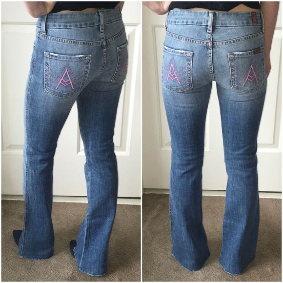 """NWT 7 For All Mankind Jeans SZ 25 """"A"""" Pockets •NWT 7 For All Mankind Jeans Size 25 PINK """"A"""" Pocket Style!  •NWT but have been professionally hemmed to an inseam of 30 1/4"""".  •Small SZ 25: Check Measurements: while lying flat are: rise 8"""", thigh 8 1/4"""", waist 13 1/2"""", hip 16"""", inseam 30 1/4"""" and leg opening 8 1/2"""".   •Purchased at Saks off 5th for $129.99 (tags attached). •Retail $215!  •They no longer make this color A pocket style!  •NO TRADES NO PAYPAL!  •Please ask any questions before…"""