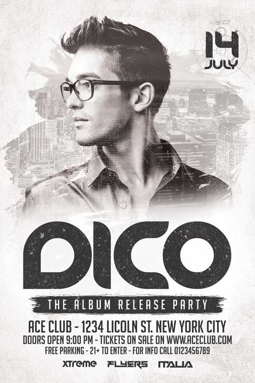 Dico Club DJ Flyer Template - XtremeFlyers premium flyer templates