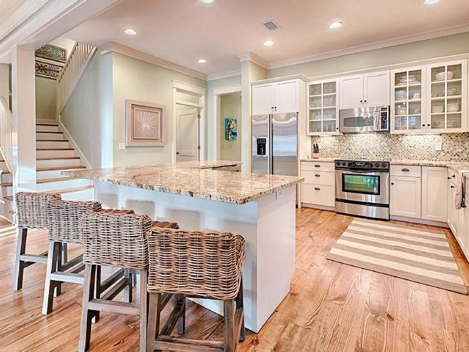 this is an exact replica of our kitchen layout love the colors usedhere water - Coastal Kitchen Ideas