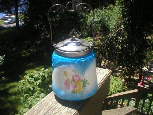 ANTIQUE TRANSFERWARE POTTERY BISCUIT BARREL/ JAR ORNATE SILVERPLATE HANDLE BLUE