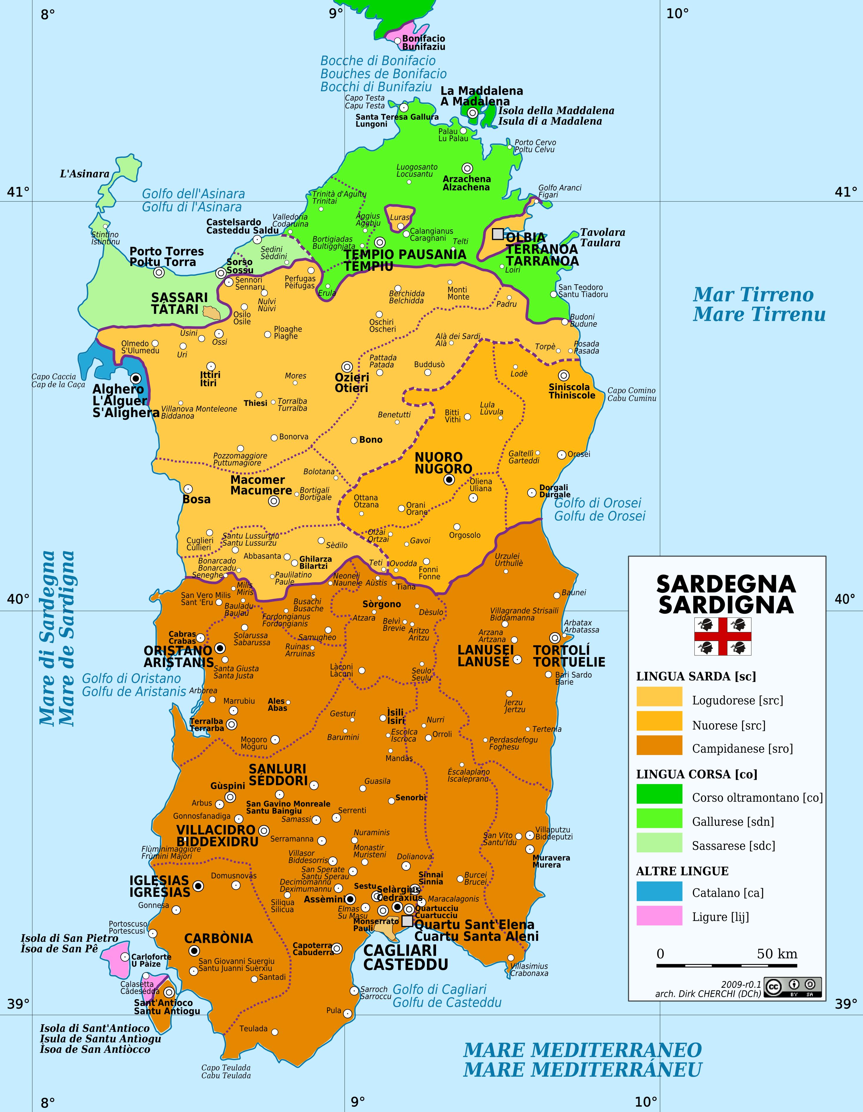 Sardinia Language Map Sardegna Pinterest