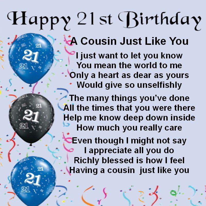 Personalised Coaster Cousin Poem 21st Birthday Blue Free