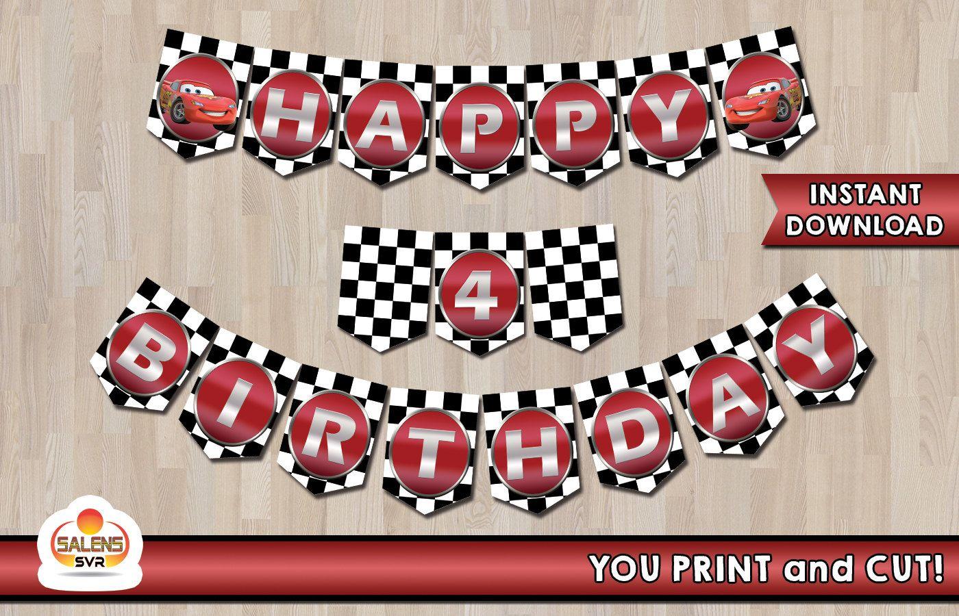 Disney Cars Happy Birthday Banner Printable Banner Instant