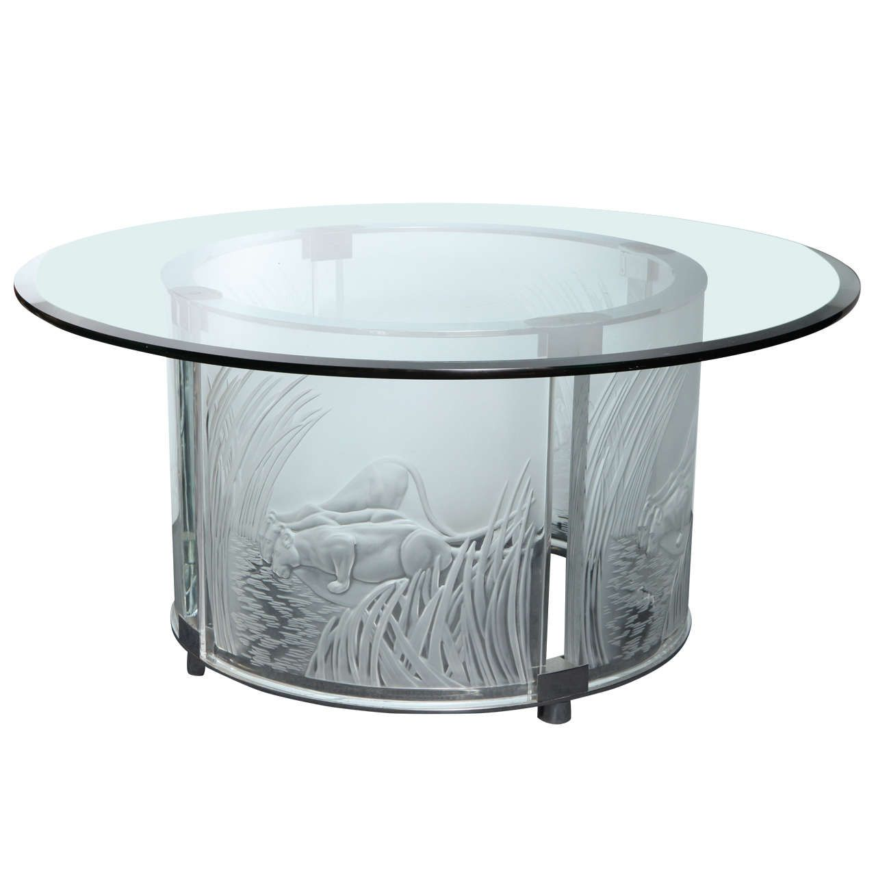Deco Chrome Coffee Table: Lalique, Art Deco Style Three Lioness Glass And Chrome