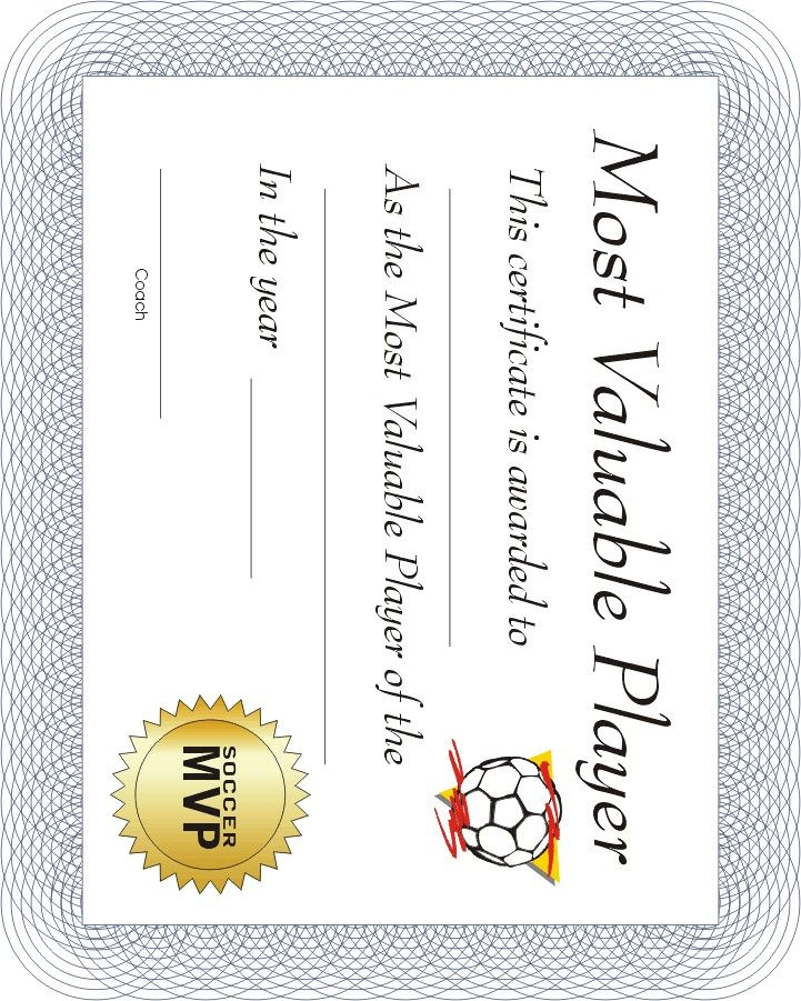 Free Printable Sports Certificate Soccer Certificate