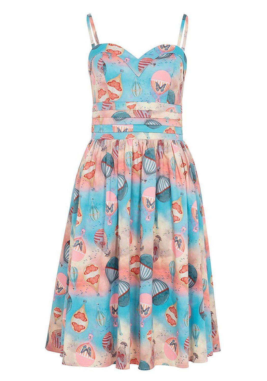Voodoo Vixen | 1950s Style Blue Pink Hot Air Balloon Aria Swing Dress