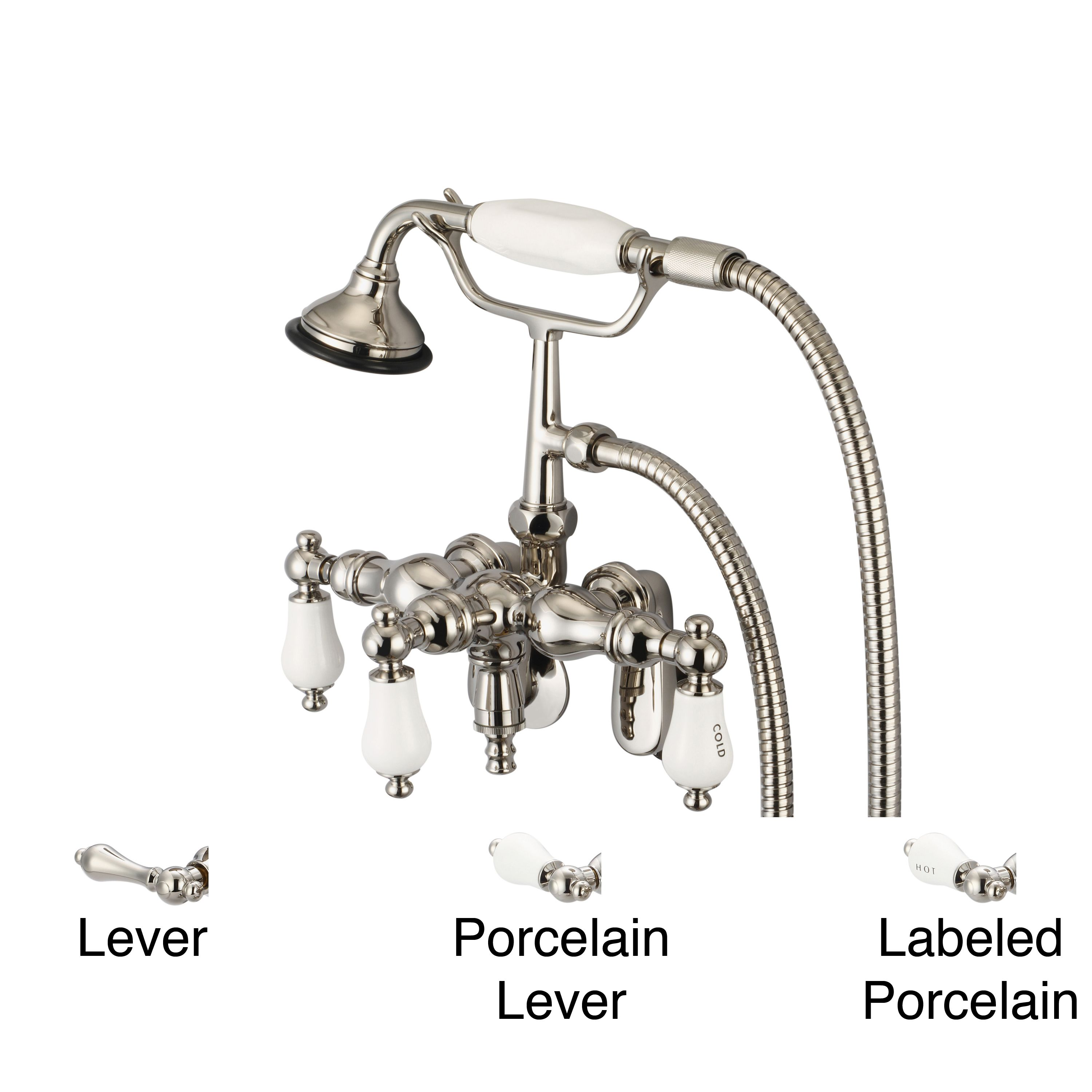 wall mount clawfoot tub faucet handheld shower. Water Creation Polished Nickel Adjustable Center Wall Mount Down Spout Tub  Faucet Swivel Connector and Handheld Shower Lever handles
