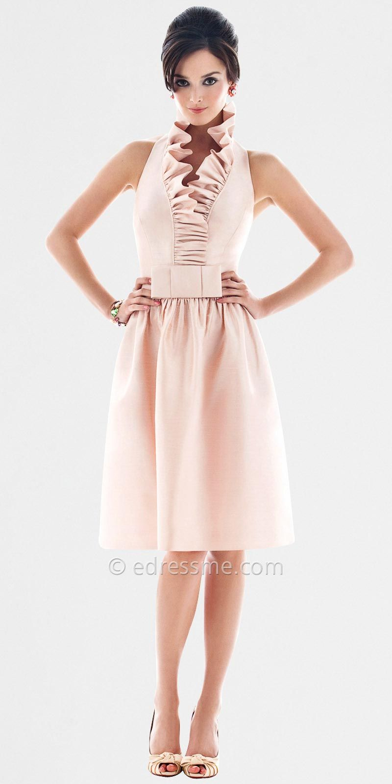 Rose colored wedding dress  Classy bridesmaid dress  Gray and dusty rose color scheme