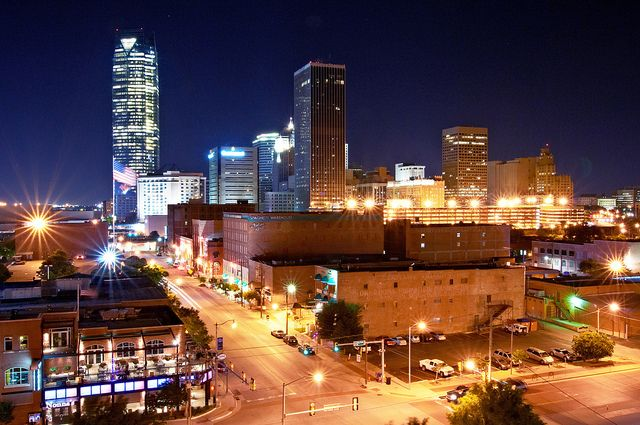 Oklahoma City Skyline From Bricktown At Night Night Life City Vacation Oklahoma Travel