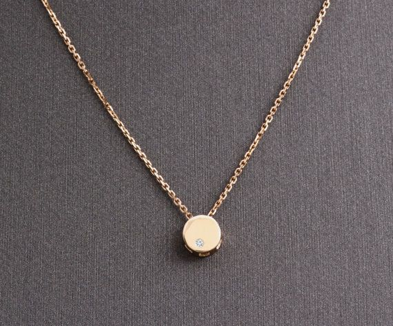 14k solid gold round pendant necklace tiny pendant with small 14k solid gold round pendant necklace tiny pendant by yunjibijoux mozeypictures Gallery